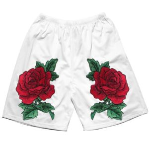 White shorts with custom design roses by KYC