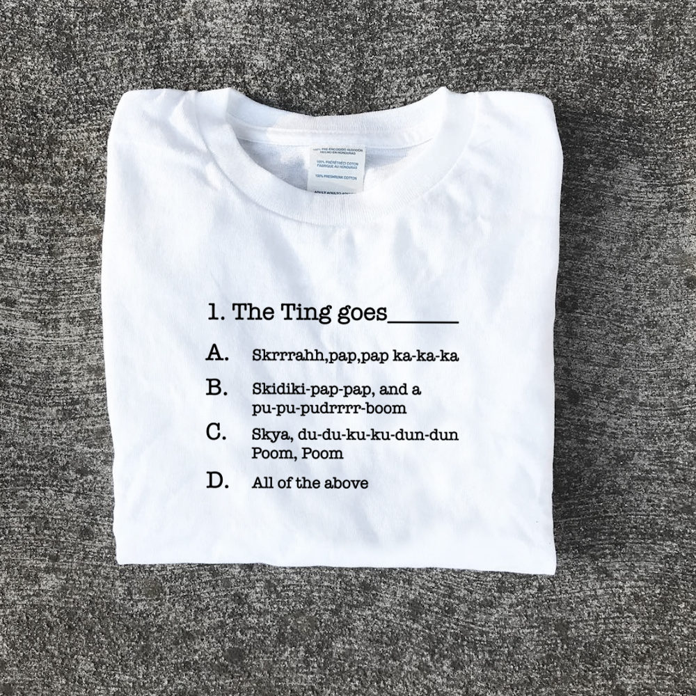 """The Ting goes"" T Shirt Question one logo"